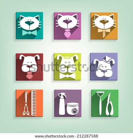 Decorative multicolor groomers icons collection with shadow - stock vector