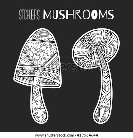 Decorative mushrooms. Black, white stickers isolated for coloring book