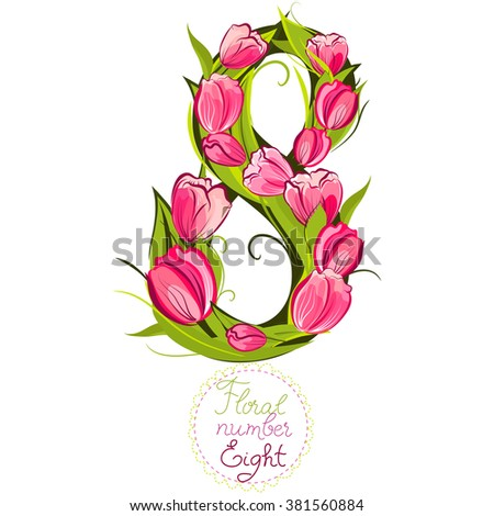 Decorative number eight, made with tulips, vector illustration, part of collection floral numbers and letters - stock vector