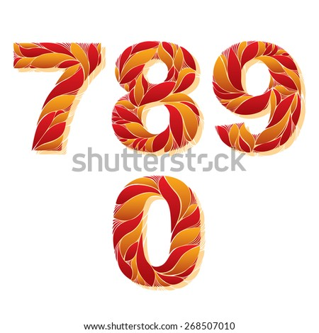 Decorative numerals with natural pattern. Flowery digits, calligraphic numbers. 7, 8, 9, 0 - stock vector