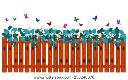 Decorative of Fence, Butterfly and leaf - stock vector