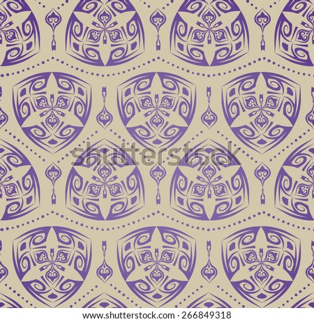 Decorative ornament with the purple elegant triangular rounded elements in East style on the beige background