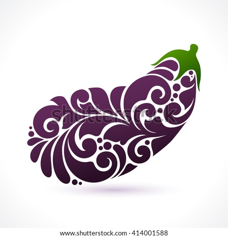 Decorative ornamental eggplant isolated on white. Vector abstract aggplant illustration logo design element for packaging design, banner, poster, business sign, identity, branding
