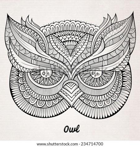 Decorative ornamental Owl head. Vector illustration - stock vector