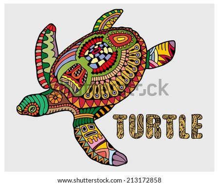 Decorative ornamental turtle with sign, colorful ethnic pattern. Geometric and floral textures for print, wallpaper, web pages, surface design, textile, fashion, cards, vector illustration - stock vector