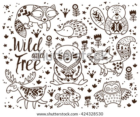 Decorative ornamental woodland animals vector set