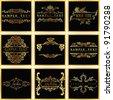 Decorative Ornate Golden Vector Quad Frames - stock vector