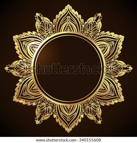 Decorative ornate snowflake looking like Indian round lace mandala. Vintage vector pattern. Invitation, wedding card, scrapbooking. Christmas card design. Gold over black. - stock vector