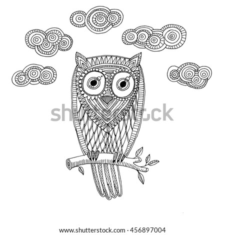retro owl coloring pages | Black White Illustration Vintage Owl Fairy Stock Vector ...