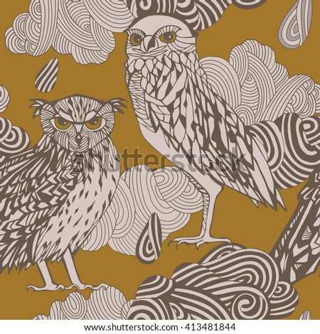 Decorative owls pattern. - stock vector