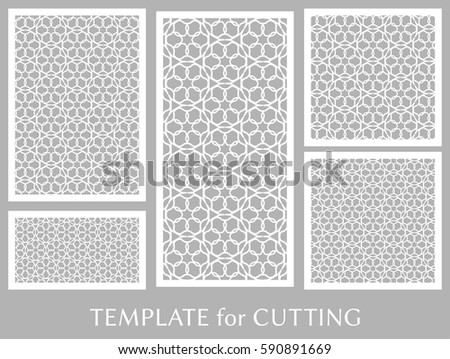 Decorative Panels Set Laser Cutting Geometric Stock Vector