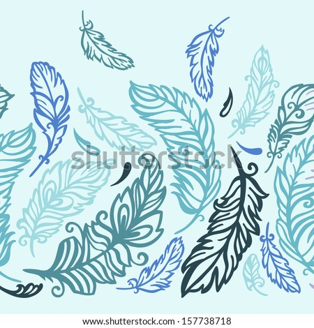 Decorative pattern with feathers - stock vector