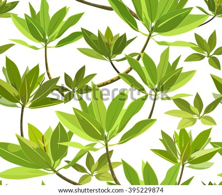 Decorative pattern with green leaves. Endless texture with branch of mangrove tree. Seamless for fabric design, gift wrapping paper, wallpaper - stock vector