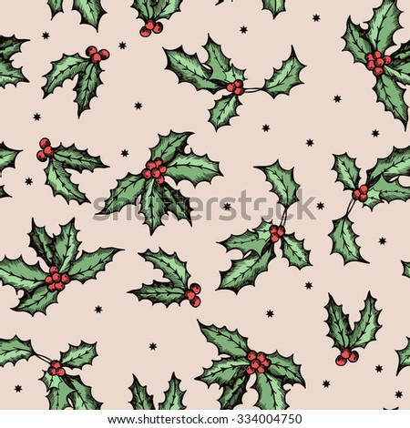 Decorative pattern with holly leaves. Hand drawing. Seamless for fabric design, gift wrapping paper and printing and web projects. - stock vector