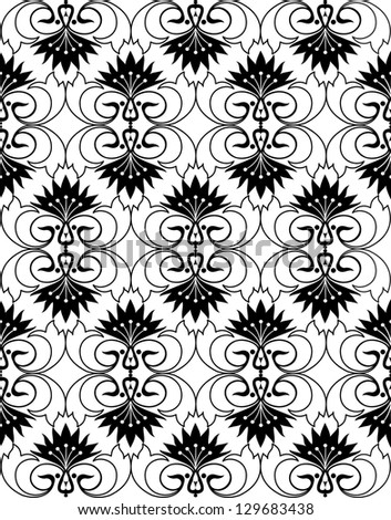 Decorative pattern with ornamental cornflowers. Vector flourishes background. Black and white ornament. - stock vector