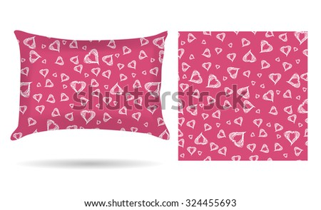 Decorative pillow with hearts pillowcase in an elegant gentle style on a pink background.