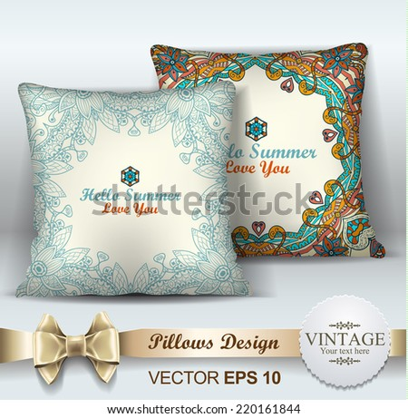 Decorative Pillows design template. Set of two decorative pillows for interior design. Original pattern is complete, masked. Vector illustration. Creative sofa pillow.  - stock vector