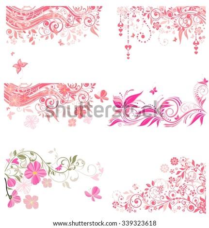 Decorative pink borders - stock vector