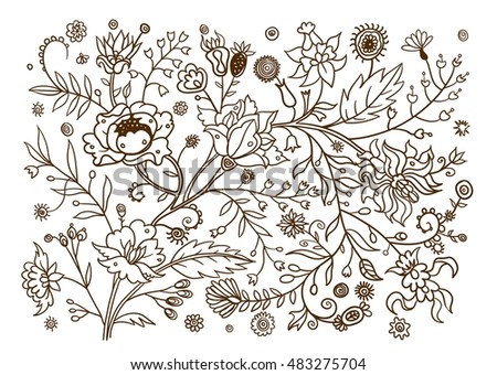 Decorative plants and flowers. Hand drawn vintage vector design elements