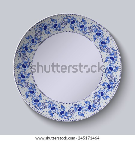 Decorative plate with floral pattern in blue and white space in the center. Stylized Gzhel. Vector illustration. - stock vector