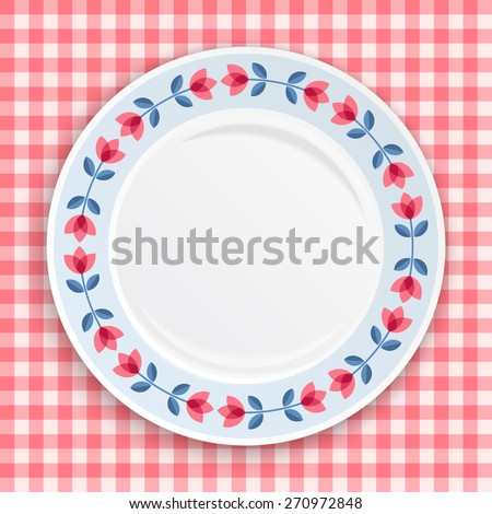 Decorative plate with patterned  floral border, on gingham tablecloth. Blank plate, top view. Vector illustration. - stock vector