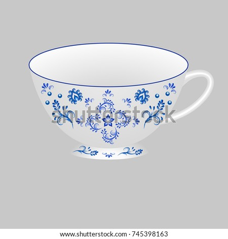 Decorative porcelain tea cup ornate with blue floral pattern in traditional Russian style Gzhel. Isolated  sc 1 st  Shutterstock & Decorative Porcelain Tea Cup Ornate Blue Stock Vector 745398163 ...