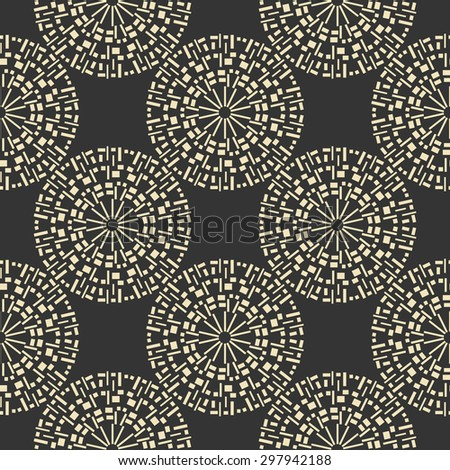Decorative print, seamless vector pattern, hand drawn motif on black background, big circles - stock vector