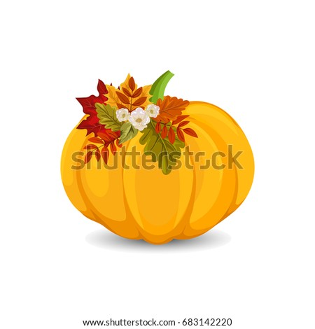 Decorative pumpkin with colorful leaves, isolated on white background. Vector Autumn illustration.