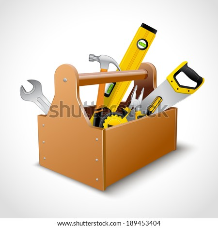 Decorative realistic wooden toolbox concept emblem poster with saw hammer spanner and level vector illustration - stock vector