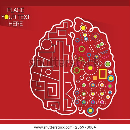 decorative red background with brain and place for your text - stock vector
