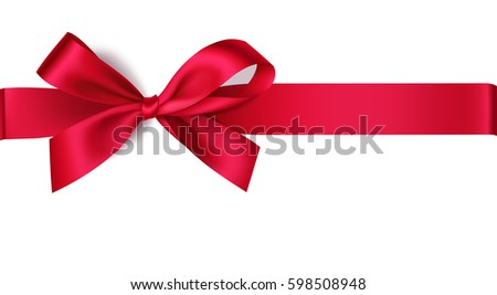 Decorative red bow with horizontal ribbon. Vector bow for page decor isolated on white