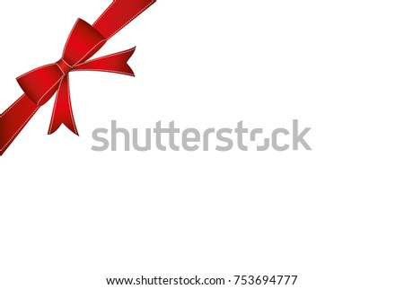 Decorative red ribbons with bow  banner in the corner diagonally. With copy space isolated on white. Vector. For a holiday or a party.