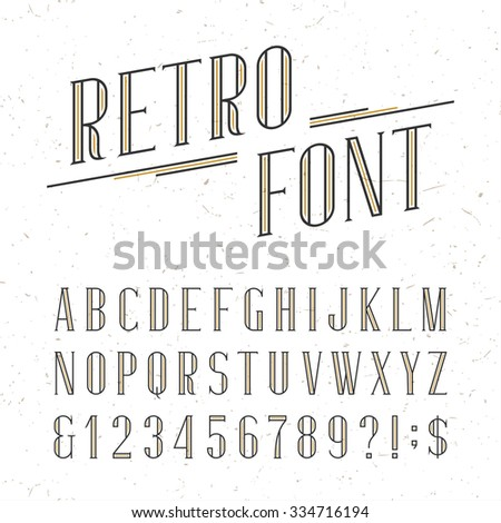 Decorative retro alphabet vector font. Serif type letters, numbers and symbols on the white background with distressed overlay texture. Stock vector typography for labels, headlines, posters etc. - stock vector
