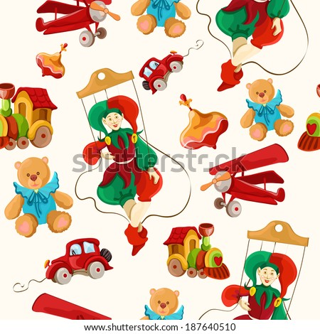 Decorative retro baby toys sketch seamless pattern of airplane peg top teddy bear puppet vector illustration - stock vector