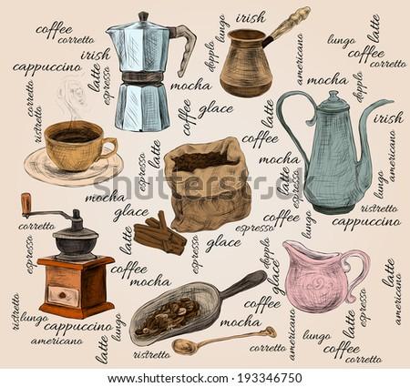 Decorative retro cappuccino mocha espresso irish latte americano coffee set doodle color handdrawn background vector illustration - stock vector