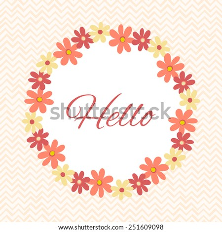 Decorative retro frame. Greeting card template with floral wreath. Vector illustration