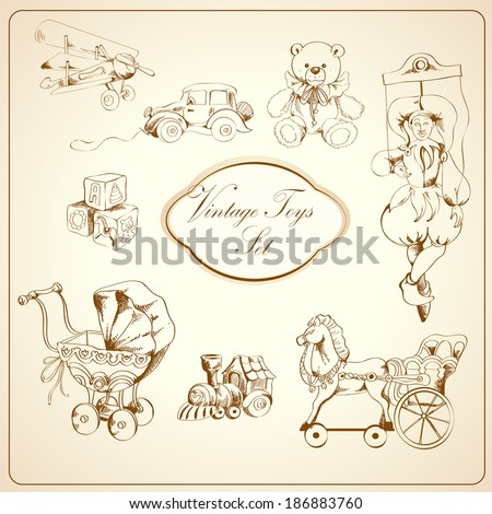 Decorative retro kids toys sketch icons set of airplane car teddy bear puppet isolated vector illustration - stock vector