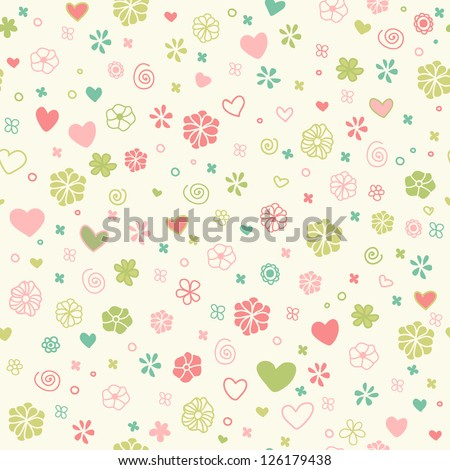 Decorative romantic seamless doodle texture. Endless childish pattern with hand drawn hearts, flowers and spirals. Template for design and decoration - stock vector