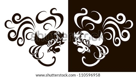Decorative rooster black and white - stock vector