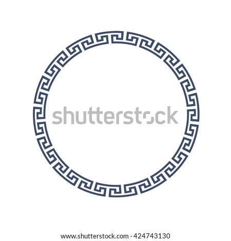 Decorative round frame for design in Greek style. Vector EPS10