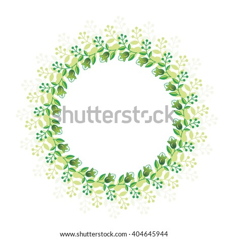 Decorative round frame with small twigs and berries. Fine twigs  on a white background. Delicate wreath. Vector stock.