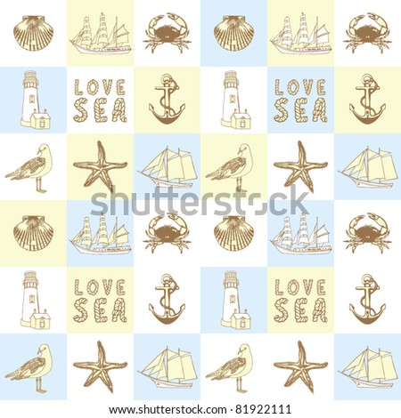 Decorative sea background - stock vector