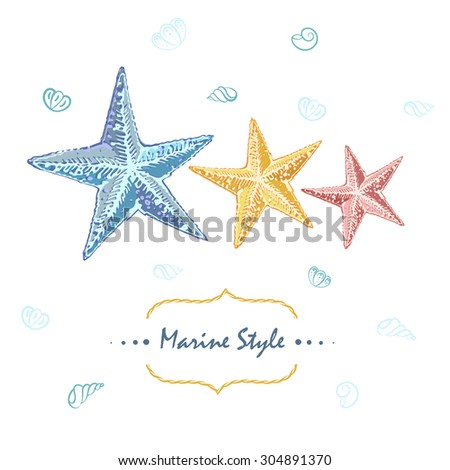 Decorative sea card with starfishes. Can be used as a greeting card or wedding invitation