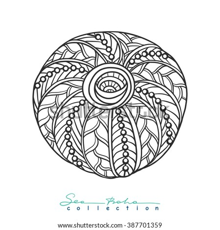 Decorative Sea Urchins Outline Drawing Coloring Book For Adult And Older Children