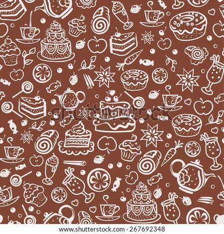 decorative seamless bakery pattern - stock vector