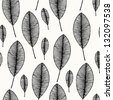 Decorative seamless black and white pattern with leaves. Endless stylish texture. Template for design textile, backgrounds, wrappers, package - stock vector