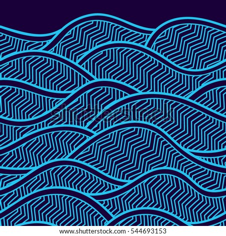 Decorative seamless border pattern. Vector illustration with abstract waves or dunes. Geometric ornament.