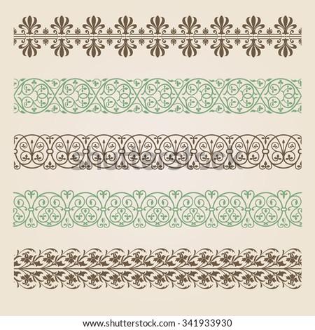 Decorative seamless borders set - stock vector