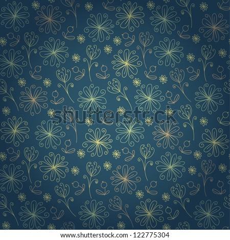 Decorative seamless doodle floral texture. Endless pattern with fantasy flowers. Template for design and decoration textile, wrapping paper, backgrounds, package - stock vector