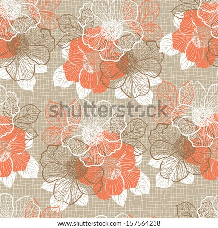 Decorative seamless floral pattern with flowers of peony - stock vector